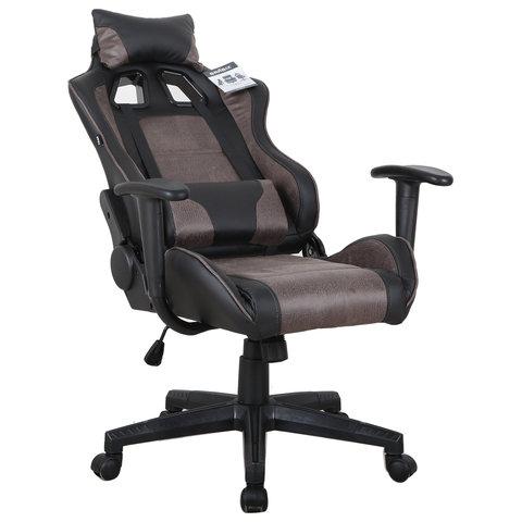"""Кресло компьютерное """"GT Racer GM-100"""", две подушки, ткань, экокожа, черное/коричневое"""