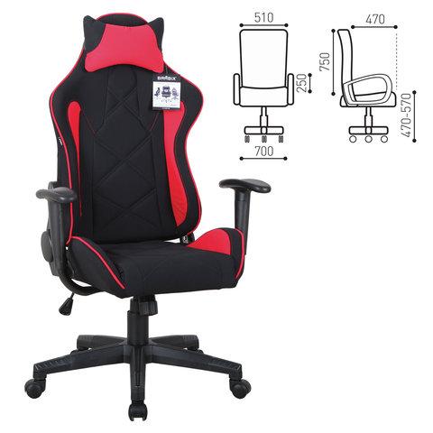 """Кресло компьютерное """"GT Racer GM-101"""", подушка, ткань, черное/красное"""