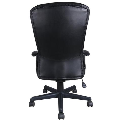 """Кресло """"Optima MG-370"""", с подлокотниками, экокожа/ткань, черное"""