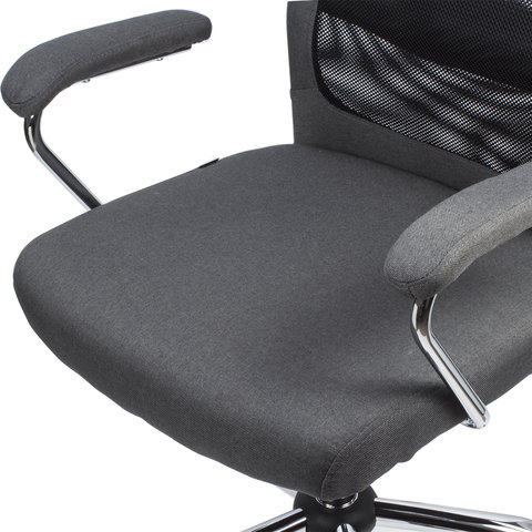 """Кресло офисное """"Flight EX-540"""", хром, ткань, сетка, серое"""