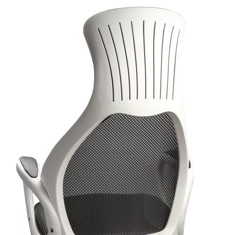 """Кресло офисное PREMIUM """"Genesis EX-517"""", пластик белый, ткань/экокожа/сетка черная"""