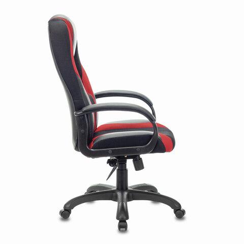 """Кресло компьютерное PREMIUM """"Rapid GM-102"""", НАГРУЗКА 180 кг, экокожа/ткань, черное/красное"""