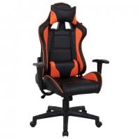 """Кресло компьютерное """"GT Racer GM-100"""", две подушки, экокожа, черное/оранжевое"""