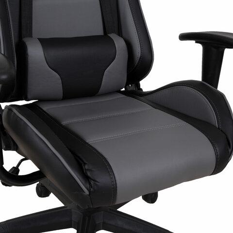 """Кресло компьютерное""""GT Racer GM-100"""", две подушки, экокожа, черное/серое"""