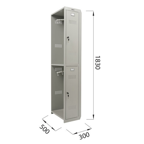 "Шкаф (секция без стенки) металлический для одежды ""LK 02-30"", УСИЛЕННЫЙ, 1830х300х500 мм, S230BR421202"