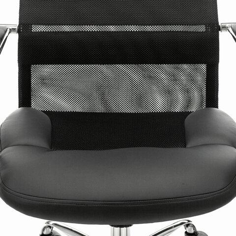"""Кресло офисное PREMIUM """"Stalker EX-608 CH"""", хром, ткань-сетка/кожзам, черное"""