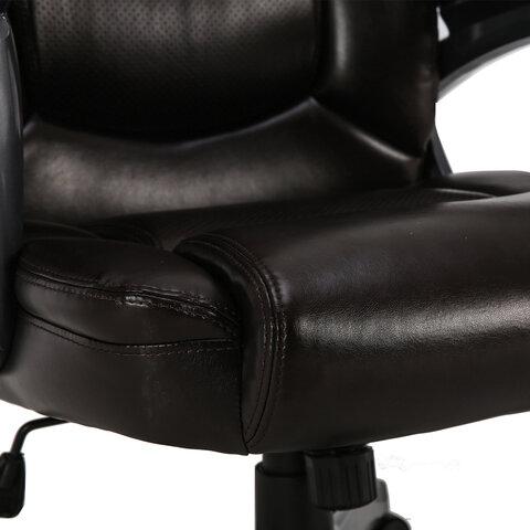 """Кресло офисное PREMIUM """"Favorite EX-577"""", пружинный блок, рециклир. кожа, коричневое"""