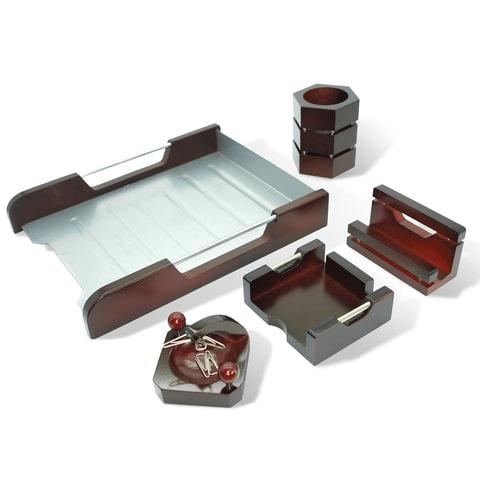 """Набор настольный """"Wood&Metal"""", 5 предметов, красное дерево и никелированный металл"""