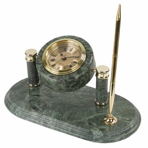 Набор настольный из мрамора, 9 предметов, зеленый мрамор/золотистые металлические детали