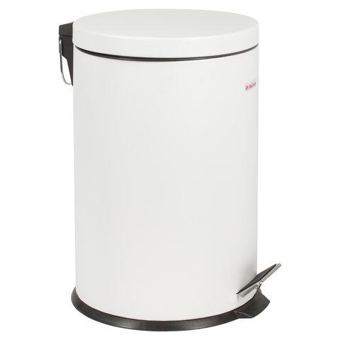 """Ведро-контейнер для мусора (урна) с педалью """"Classic"""", 20 л, белое, глянцевое, металл, со съемным внутренним ведром"""