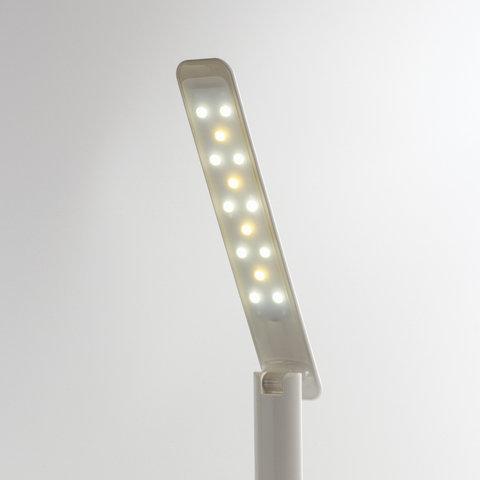 Светильник настольный BR-888A, на подставке, светодиодный, 9 Вт, часы, календарь, термометр, белый