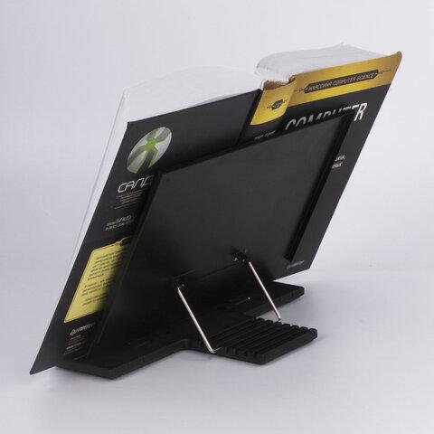 Подставка для книг, учебников, регулируемый наклон, металл/пластик, черная