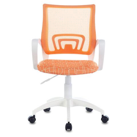 """Кресло """"Fly MG-396W"""", с подлокотниками, пластик белый, сетка, оранжевое с рисунком """"Giraffe"""""""