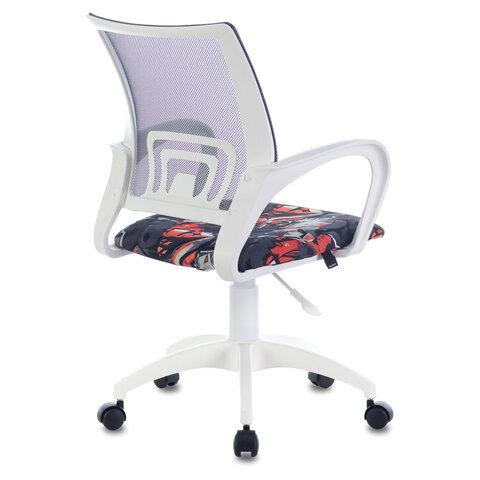 """Кресло """"Fly MG-396W"""", с подлокотниками, пластик белый, сетка, серое с рисунком """"Graffity"""""""