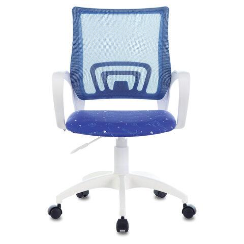 "Кресло ""Fly MG-396W"", с подлокотниками, пластик белый, сетка, темно-синее с рисунком ""Space"""