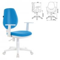 """Кресло """"Fancy MG-201W, с подлокотниками, пластик белый, голубое"""