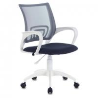 """Кресло """"Fly MG-396W"""", с подлокотниками, пластик белый, сетка, темно-серое"""