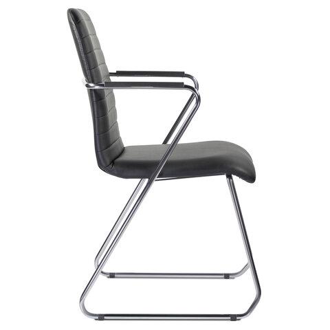 """Кресло для приемных и переговорных """"Visit CF-101"""", хром, экокожа, черное"""