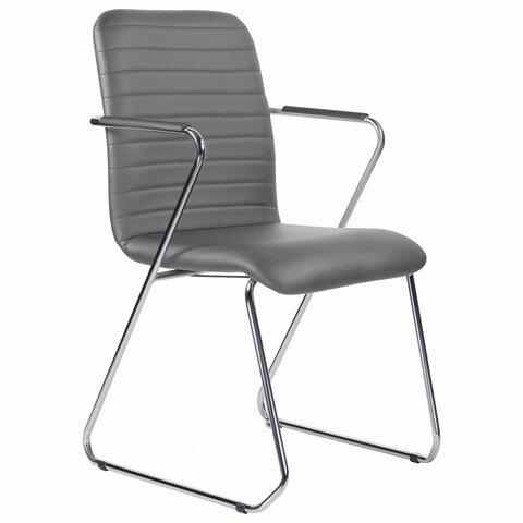"""Кресло для приемных и переговорных """"Visit CF-101"""", хром, экокожа, темно-серое"""